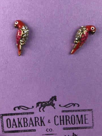 Oakbark and Chrome Parrot Earrings in Red -  Front View