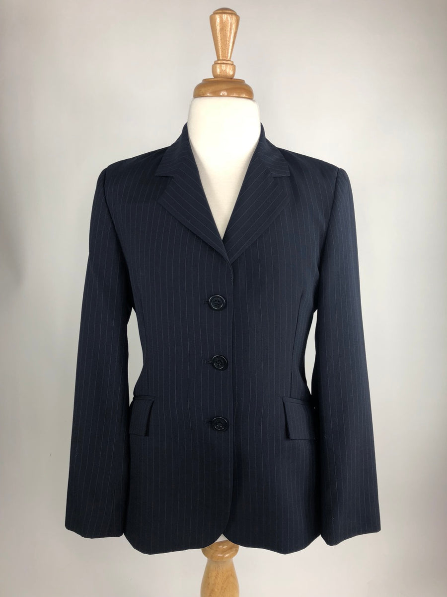 RJ Classics Essentials Collection Hunt Coat in Navy Pinstripe -  Front View