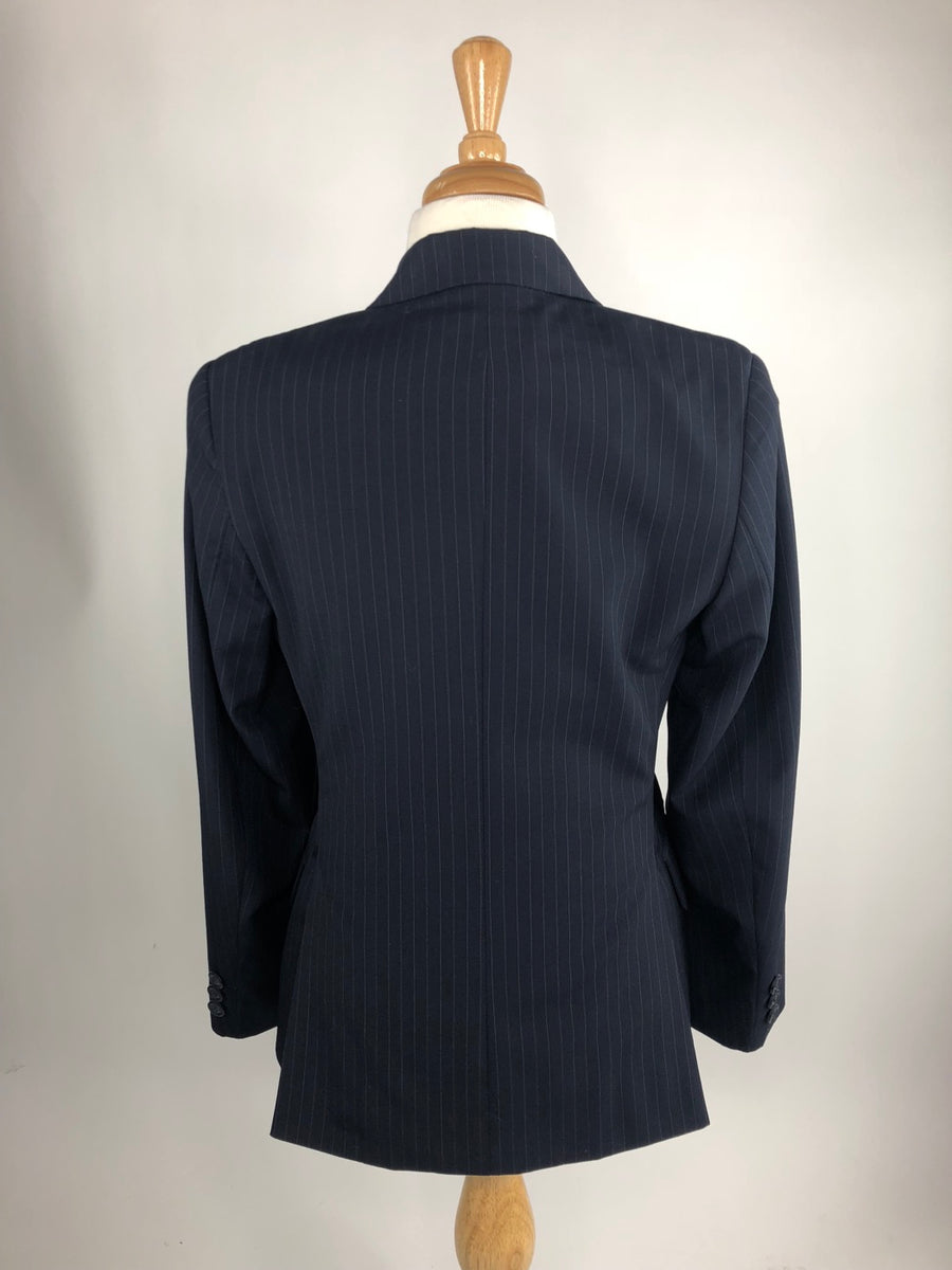 RJ Classics Essentials Collection Hunt Coat in Navy Pinstripe -  Back View