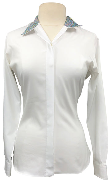 Essex Classics Performance Collection Show Shirt in White/Paisley Collar - Women's 38 (US 8)
