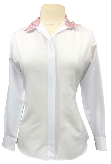 Essex Classics Performance Collection Show Shirt in White/Pink Paisley Collar - Women's 38 (US 8)
