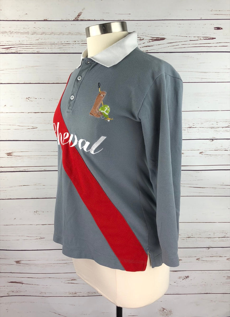 Cheval 3/4 Sleeve Polo in Grey/Red -  Left Side View
