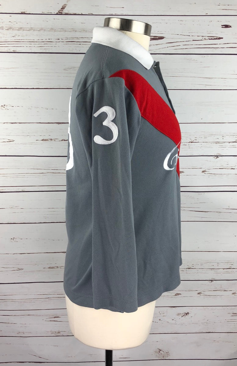 Cheval 3/4 Sleeve Polo in Grey/Red -  Right Side View