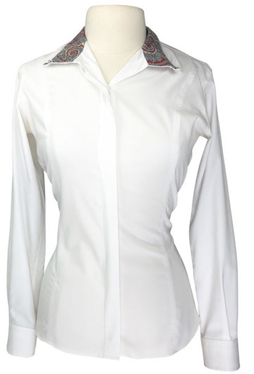 front view of Essex Classics Performance Collection Show Shirt in White/Multi