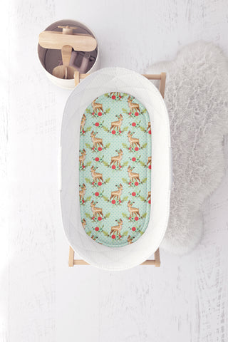Baby Deers on Polka Dot Mint Bassinet Fitted Sheet