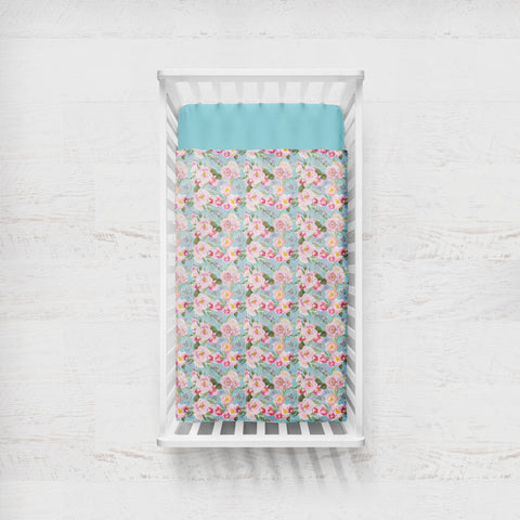 Madison Floral On Blue Cot Quilt