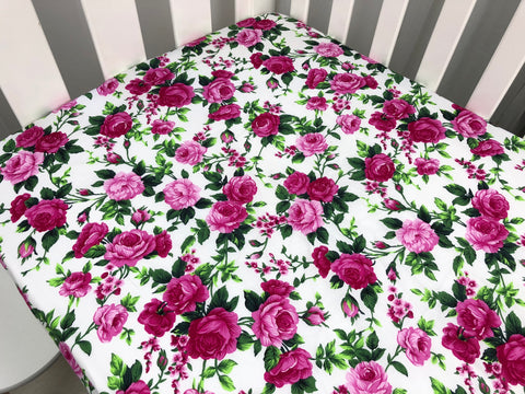 Pink Floral on White Cot Fitted Sheet