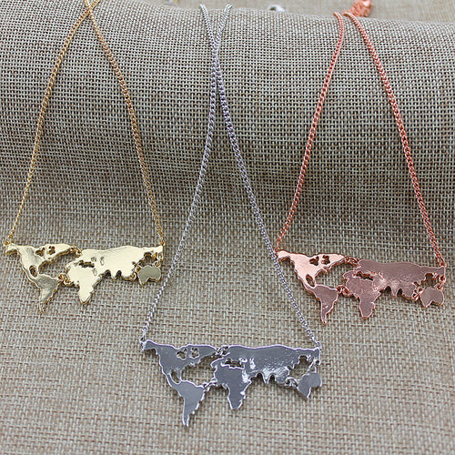 Wanderlust World Map Necklace | numinous.co