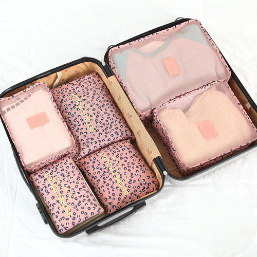 6 Piece Leopard Punch Packing Cube Set | numinous.co