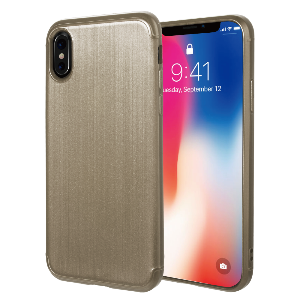 APPLE IPHONE X SOFT TPU CASE WITH SATIN FINISH SURFACE - GOLD