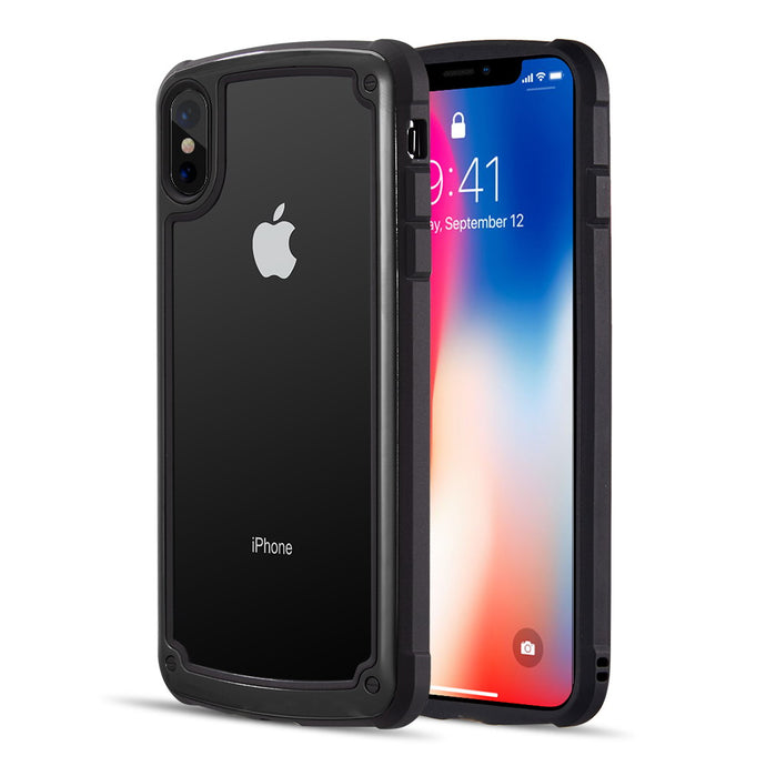 HYBRID CASE WITH 2 TONE FRAME AND TEMPERED GLASS BACK PLATE FOR IPHONE XS XS MAX