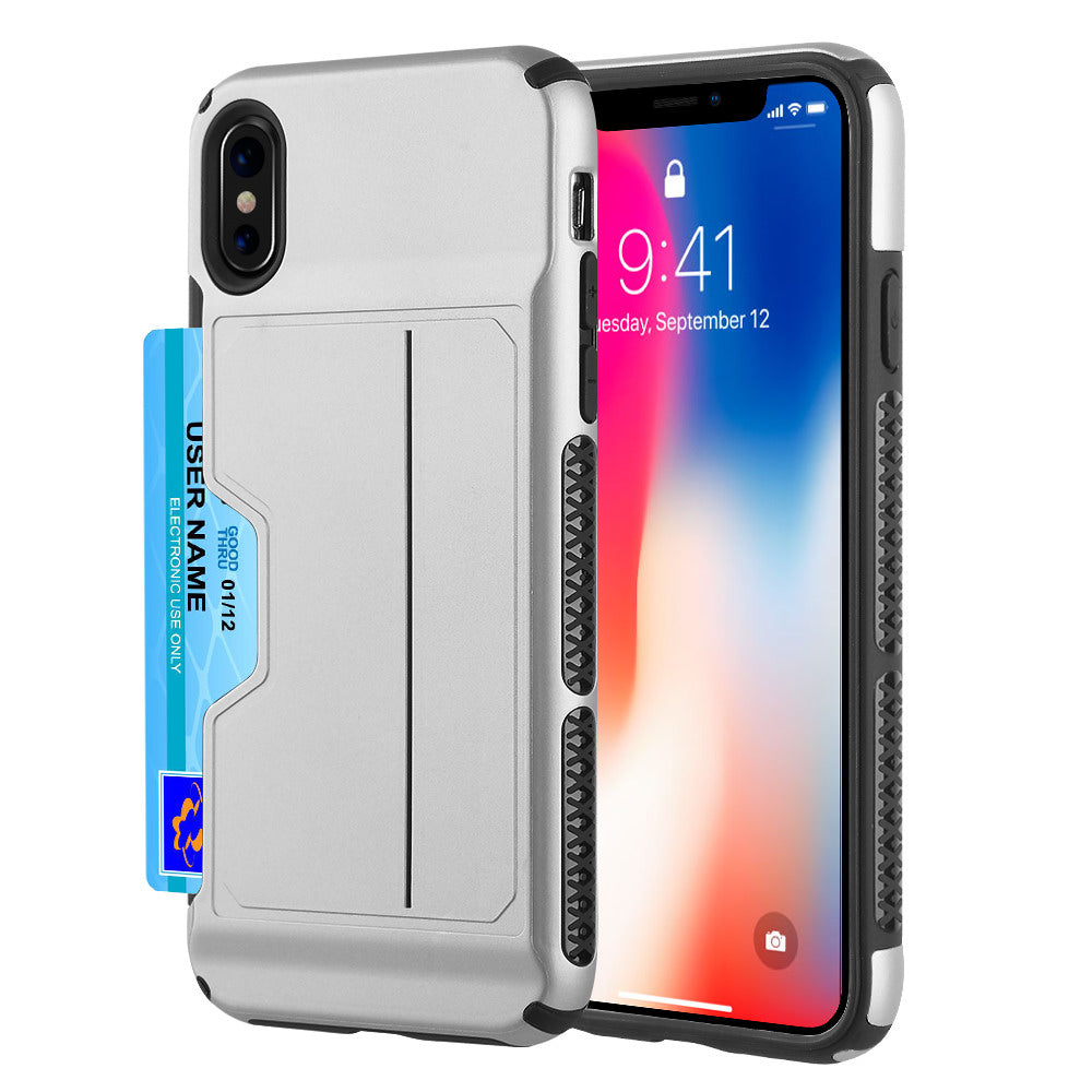 APPLE IPHONE X CARD TO GO II HYBRID CASE PC + TPU WITH CARD SLOT - SILVER