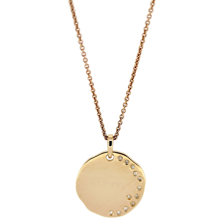 Disc Pendant Necklace. Write-Your-Own-Message. 14Karat Gold