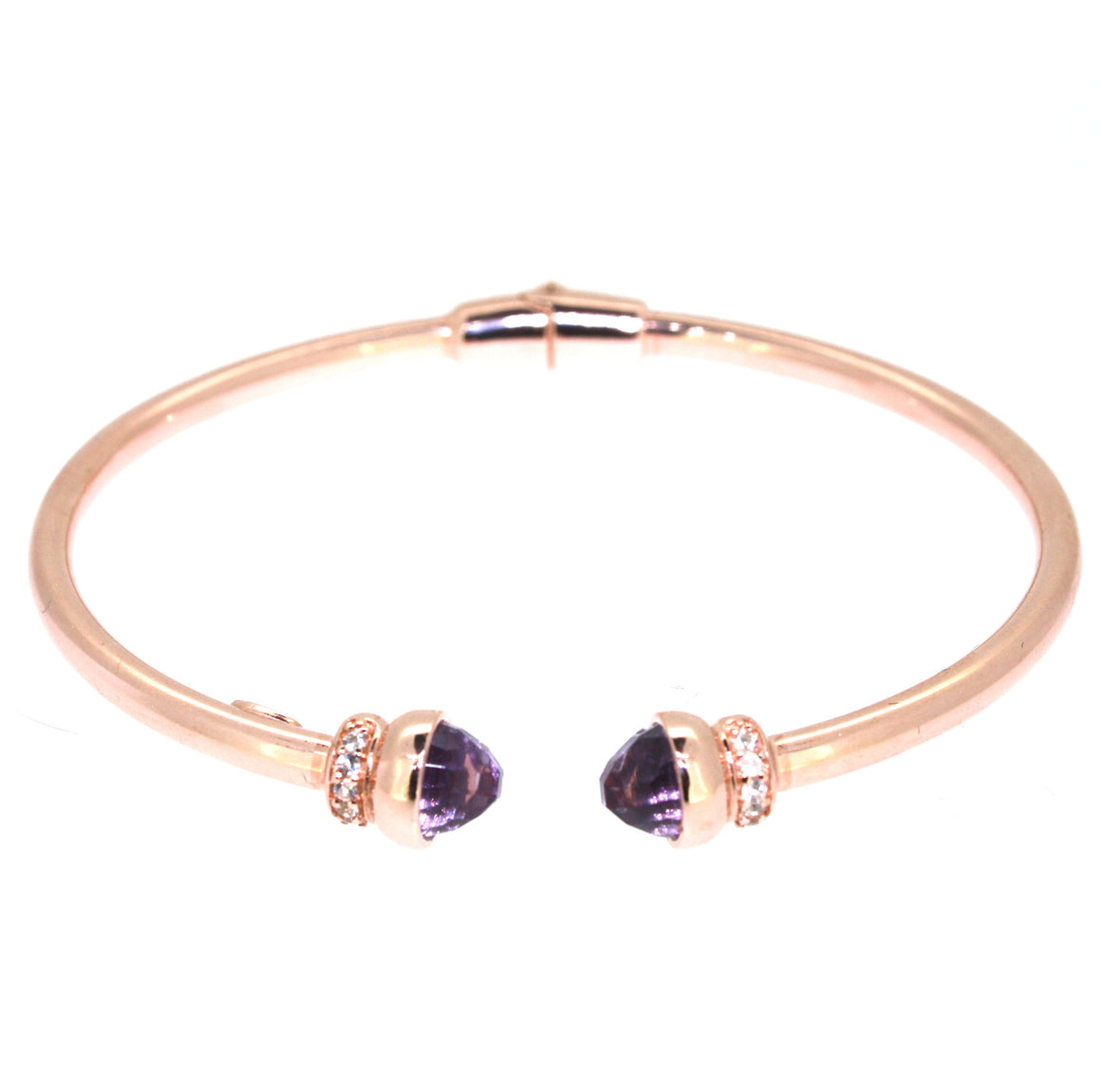 Inez Cuff  Purple Amethyst - 18K Rose Gold Plated on 925 Sterling Silver