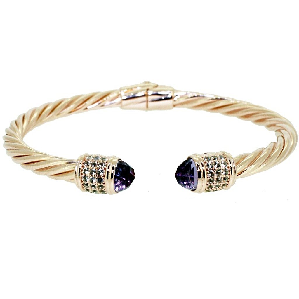 Iris Cable Cuff  Bracelet Purple Amethyst  - 18K Rose Gold Plated on 925 Sterling Silver