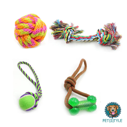 Set of Four Interactive Cotton Rope Dog Toys - For Chewing and Playing
