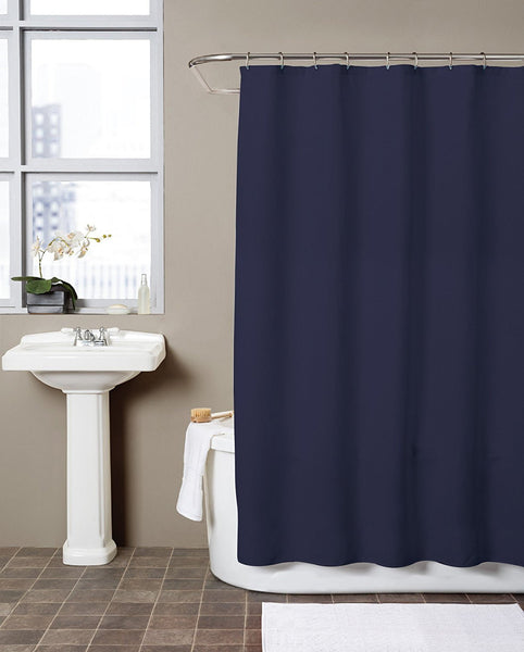 Hermosa Collection Waffle Fabric Shower Curtain (72 x 72, Navy Blue)