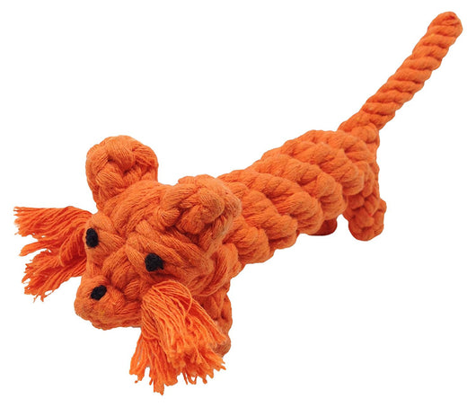 Teeth Cleaning Cotton Rope Dog Toy - Orange