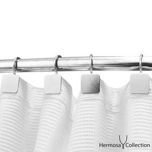 Luxury Hotel Shower Curtain Hooks Square Modern Design Silver Chrome (12-pk.)
