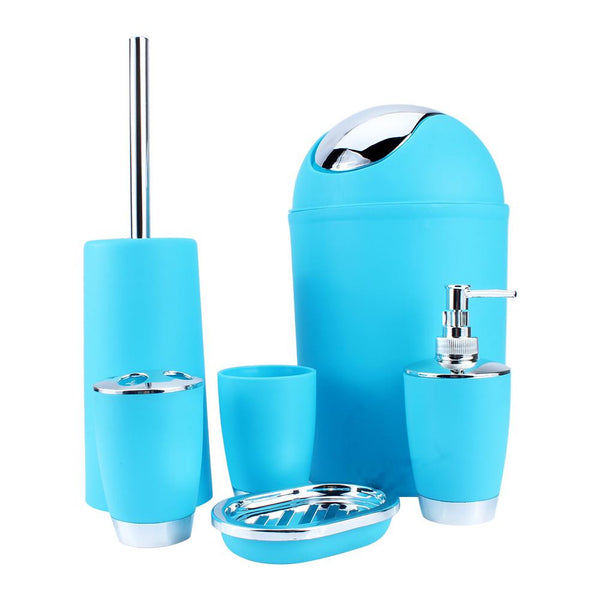 New 6Pcs Plastic Bathroom Accessory Set Luxury Bath Accessories Soap Dish Dispenser Tumbler Toothbrush Soap Dish Trash Can Toilet Brush Household