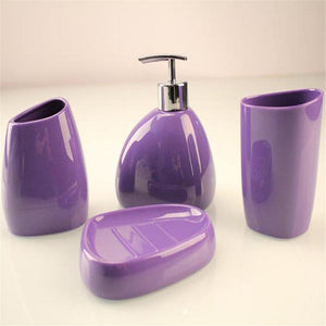 4 Piece Accessories Set -Soap Dispenser Pump, Toothbrush Holder, Tumbler, Soap Dish.