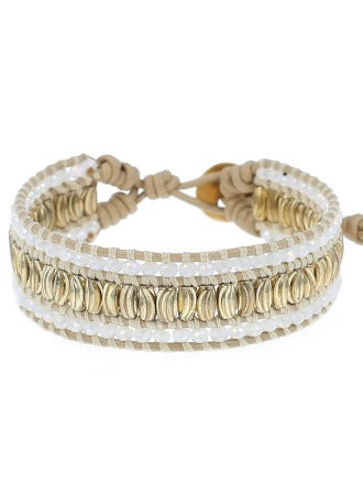 "White Crystal Mix Leather 6"" Bracelet. Handmade in Vietnam"