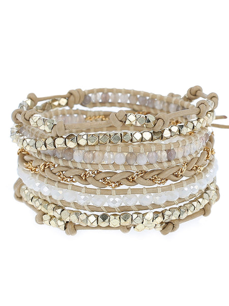 "Gold 32"" bracelet with semi precious stones and crystals.  handmade in Vietnam"