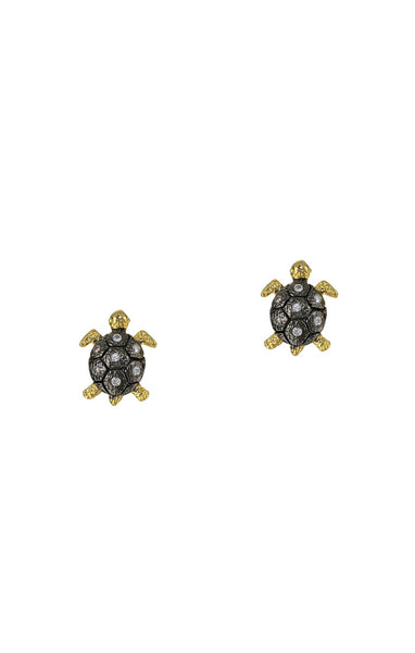 CZ Gold and Silver oxidized Turtle stud earrings