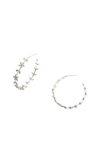 Silver and crystal Flower leaf hoop earrings