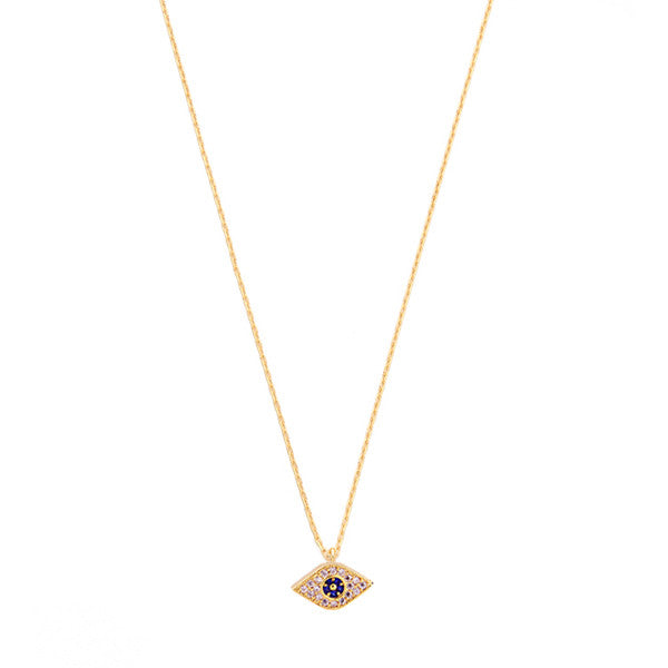 "Mini evil eye clear and blue crystal necklace 16""-18"" length"