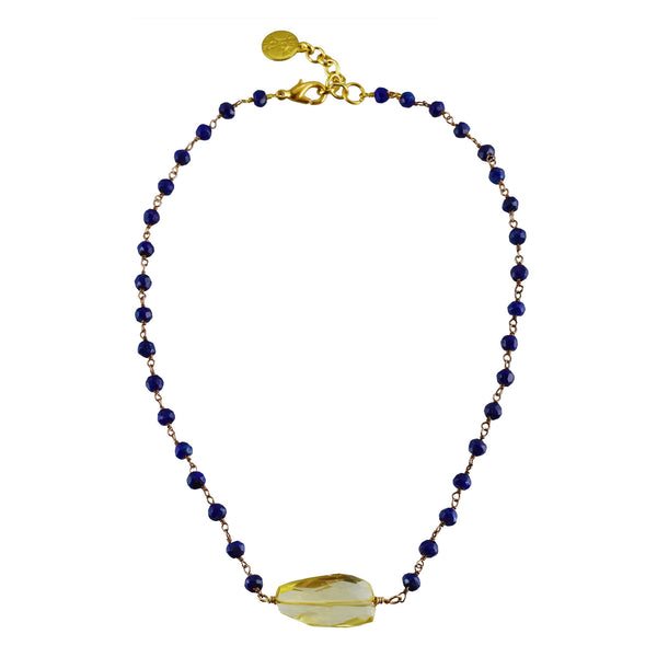 "Semi-precious Lapis Rosary with Lemon Citrine Nugget Choker 14"" drop with 2"" extender"