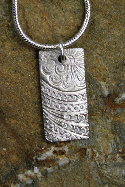 'Paisley Collection' Block Pendant in Fine Silver