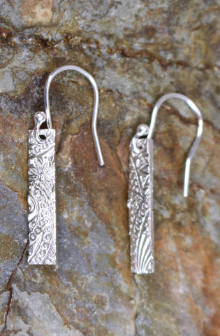 'Paisley Collection' Tall Earrings in Fine Silver