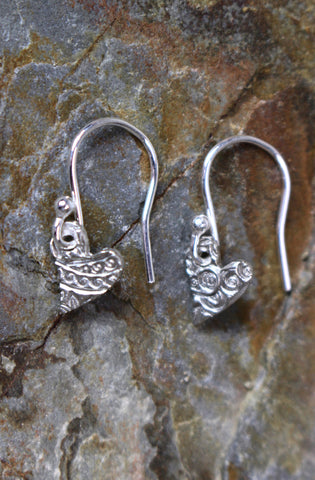 'Paisley Collection' Heart Earrings in Fine Silver