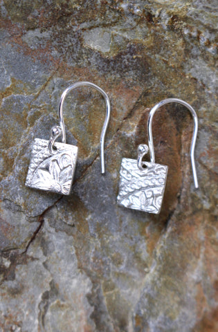 'Paisley Collection' Square Earrings in Fine Silver