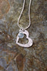 'Paisley Collection' Heart Pendant in Fine Silver with Sea Green Chalcedony Stone