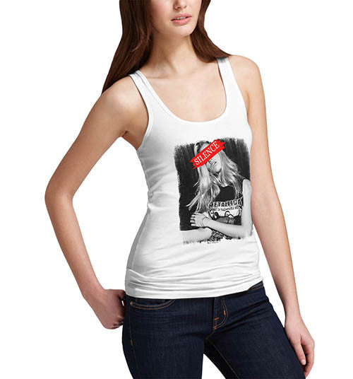 Womens Silence Fashion Model Funny Tank Top