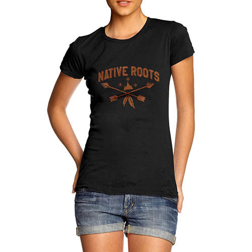 Womens Native Roots Distress Print Graphic T-Shirt