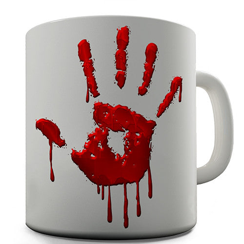 Bloody Hand Print Novelty Mug