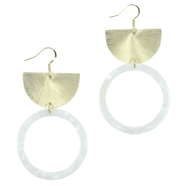 Gold Acrylic Crescent Earrings