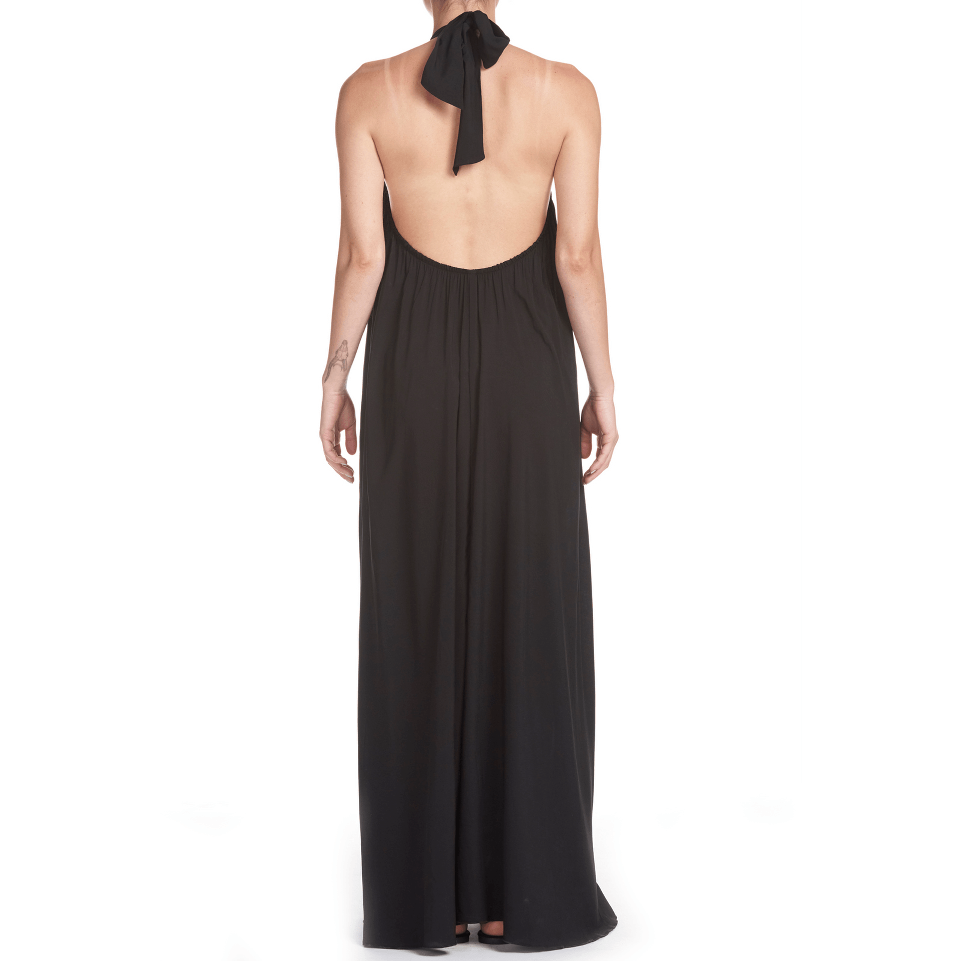 Women's Black Halter Maxi Dress - Back View
