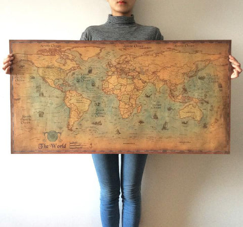 Image of Antique Nautical Ocean World Map Poster