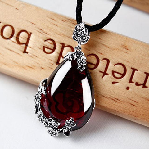 Image of Silver Sterling Garnet Water Drop Necklace