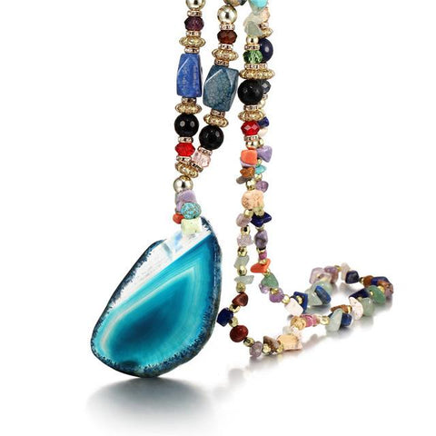 Image of Women's Multi-color Stone Water Drops Necklace