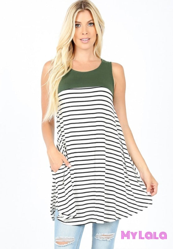 1 2072 Susie Sleeveless Striped Top (Army Green)