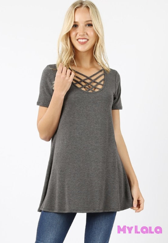 Curvy Houston Blouse (Charcoal)