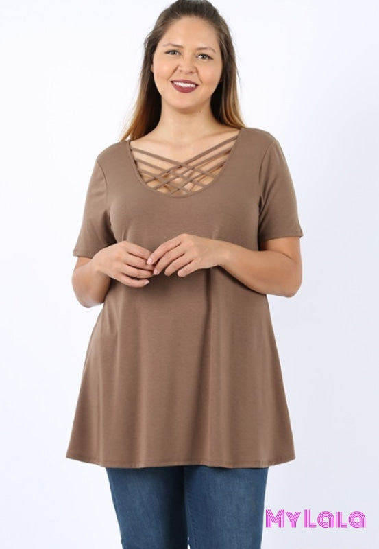 Curvy Houston Blouse (Mocha)