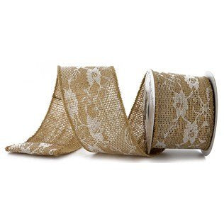 Burlap Lace Ribbon 2.5 Inch Wide 5 Yards