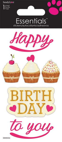 Happy Birthday Cupcakes 3d Stickers Scrapbook Card Making