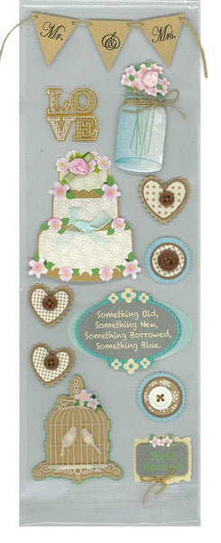 Rustic Wedding 3d Scrapbook Stickers